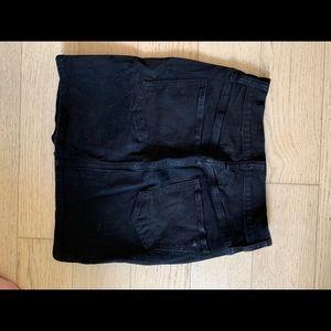 Madewell black denim skirt.
